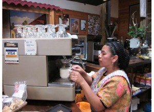 Mayan Barista Rocking the Cimbali Espresso Machine at Cafe Baviera, in Xela, Guatemala